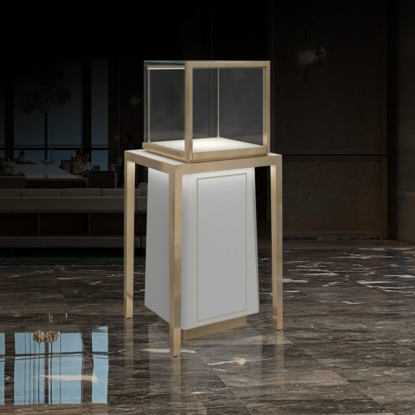 MT-27 Luxury Metal Pedestal Display Case | Pedestal Showcase | Besty Display