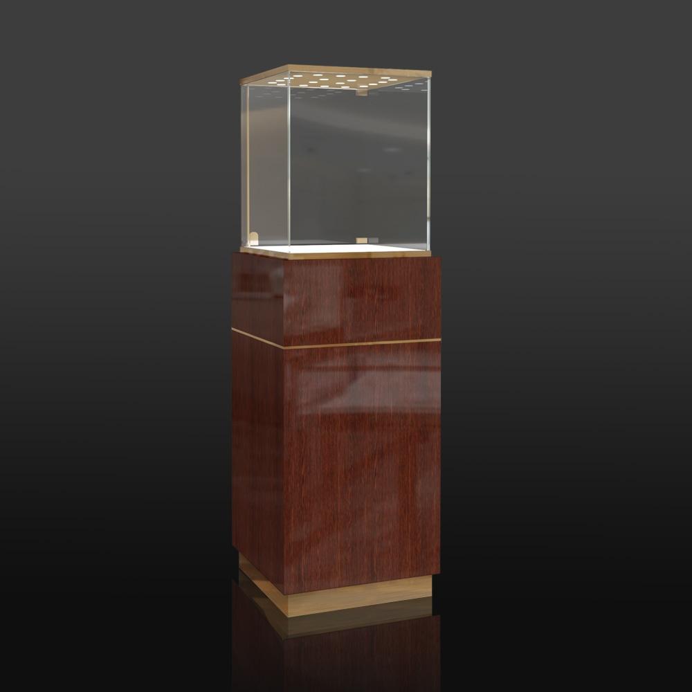 Wooden Pedestal Display Case w/ Led Lights | Besty Display