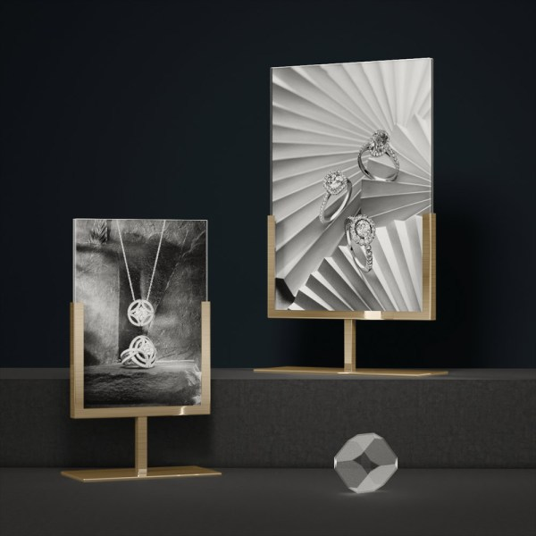 Poster Holder Metal Brush Gold Finish | Besty Display