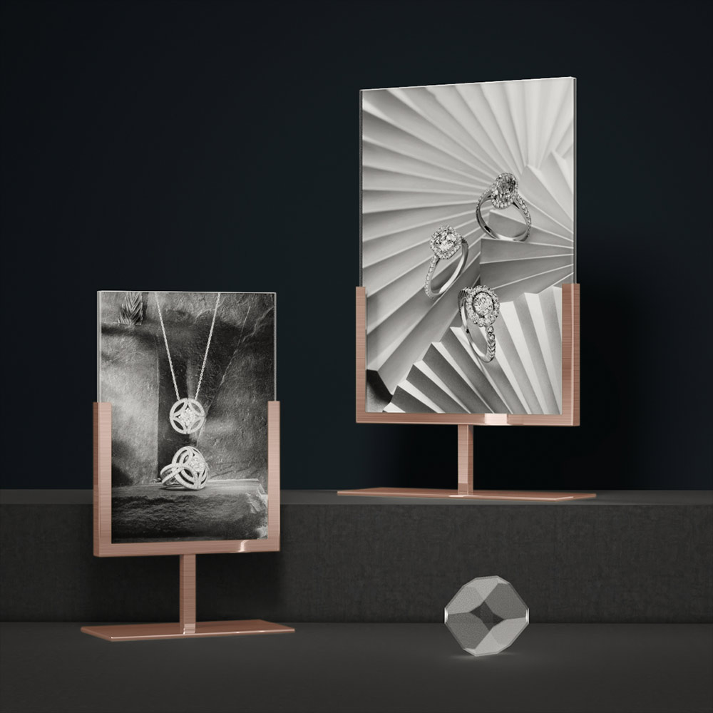 Metal Poster Stands Brush Rose Gold Finish | Besty Display